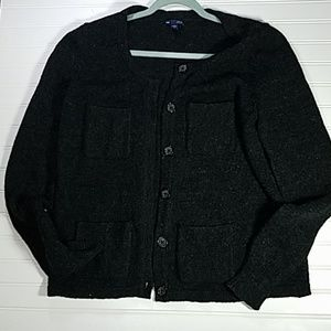 Gap Sweater Button Up Black XL Wool Blend Pockets